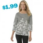 Basic Editions Women's Boat Neck Top - Floral & Gingham