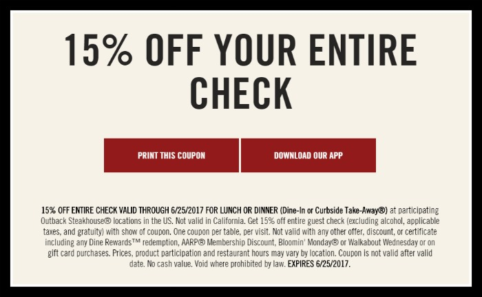 picture regarding Outback Coupons Printable referred to as Outback Steakhouse: 15% off Your Finish Watch Coupon