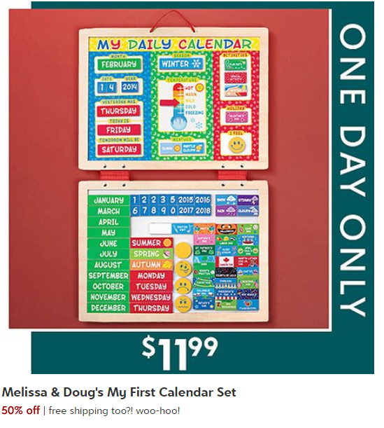 Today Only Deal Melissa Doug My First Daily Magnetic Calendar Set
