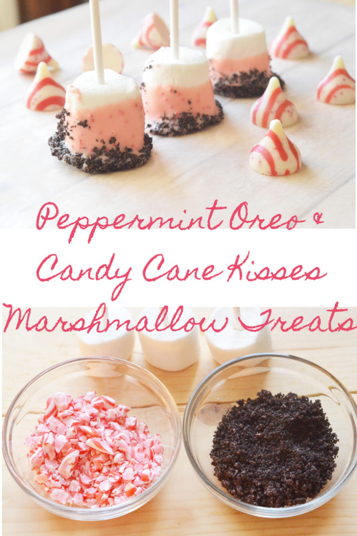 Peppermint Oreo and Candy Cane Kisses Marshmallow Treats