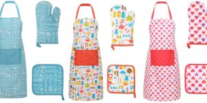 Livingston Cooking Kitchen Aprons with Glove and Potholder Set