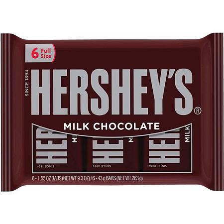 Hershey Bars, 6 pk only 1.99 at Rite Aid