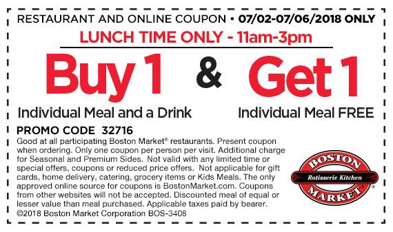 Boston Market Coupons