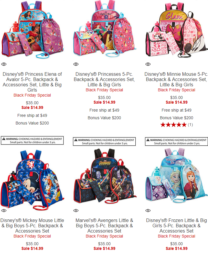 99fb47ef871 Check out these Black Friday Specials over at Macy s!! You can score a Kids  5-Piece Backpack   Accessories Set  14.99 Shipped! Choose from Disney