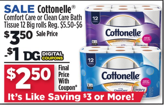 Hot Cottonelle Toilet Paper 12 Ct Only 2 50 Today Only