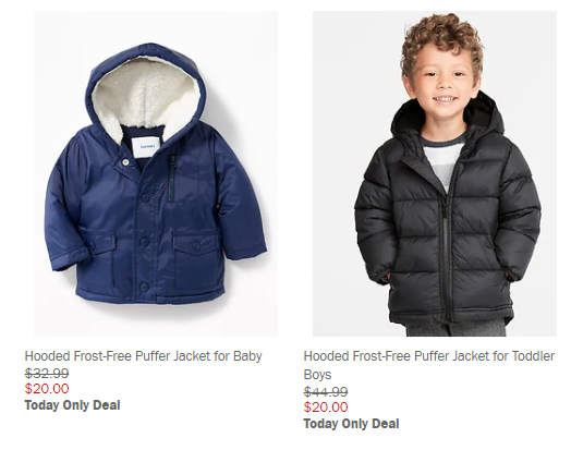 bc9b7e7b16c9 Old Navy Frost Free Puffer Jackets only  20 (TODAY ONLY) - DEAL MAMA