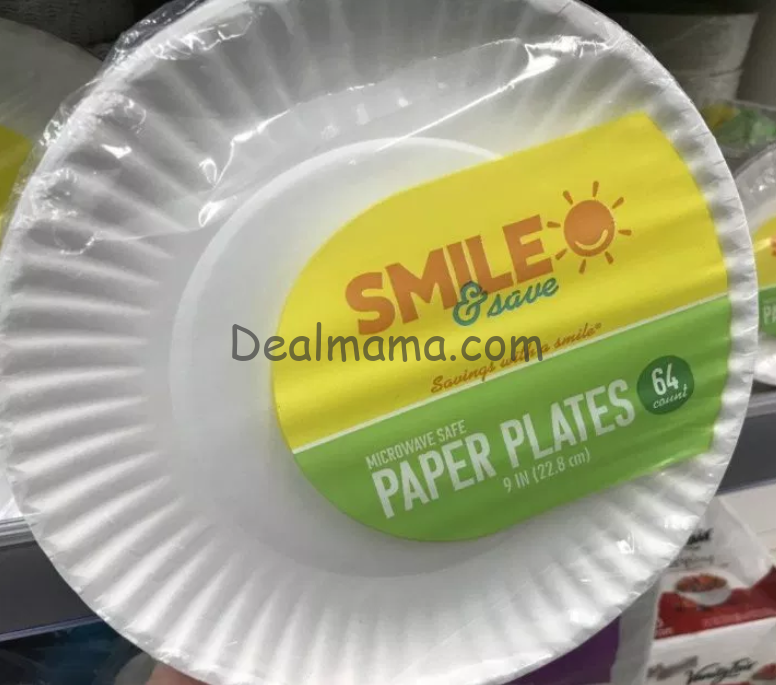 Smile & Save Paper Plates 64 Pack only 0.99 at Walgreens