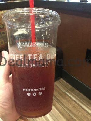 graphic about Mcalister's Coupons Printable referred to as Get a Cost-free 32-Ounce Cup of Tea at McAlisters Deli!