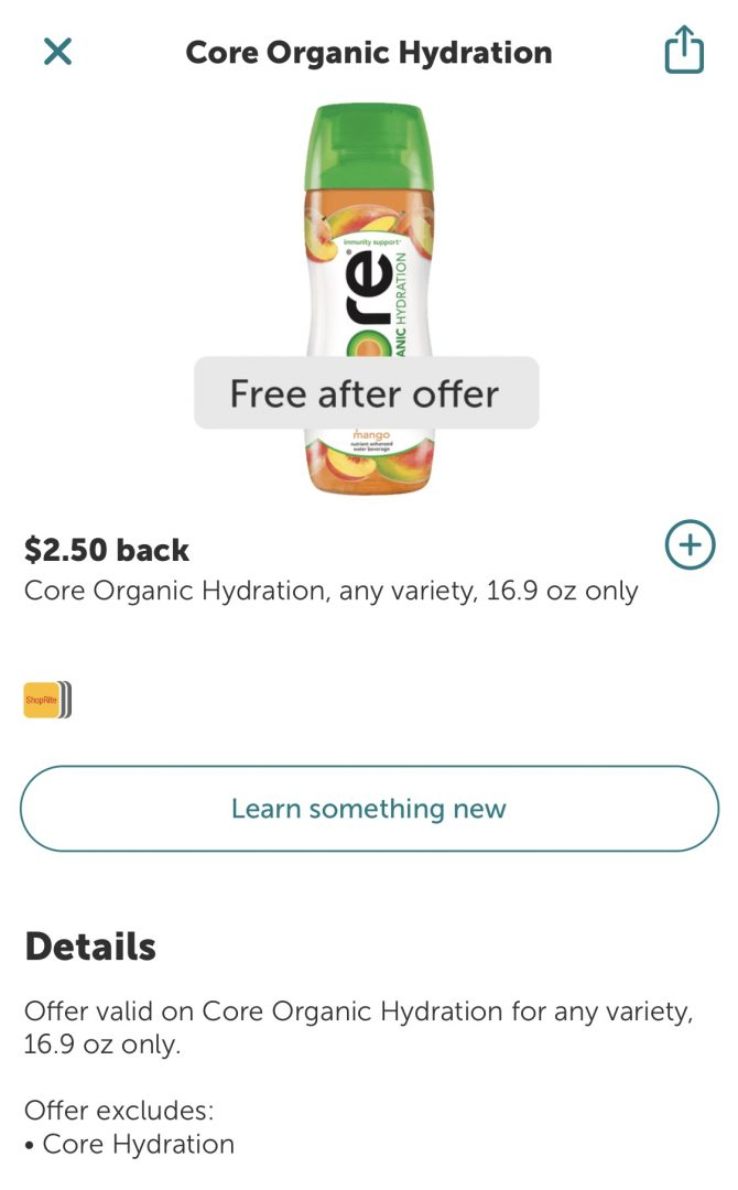 FREE Core Organic Hydration Drink