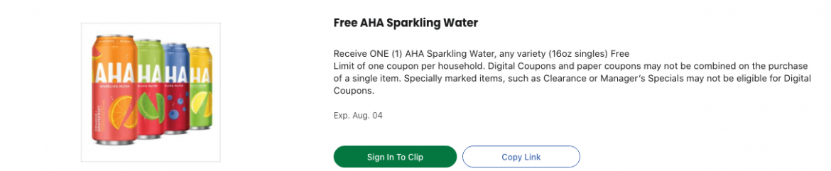 Free AHA Sparkling Water at Kroger!
