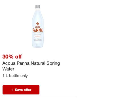 Aqua Panna 1L bottles only 0.89 at Target!