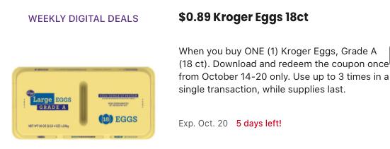 Kroger Eggs only 0.89 at Kroger!
