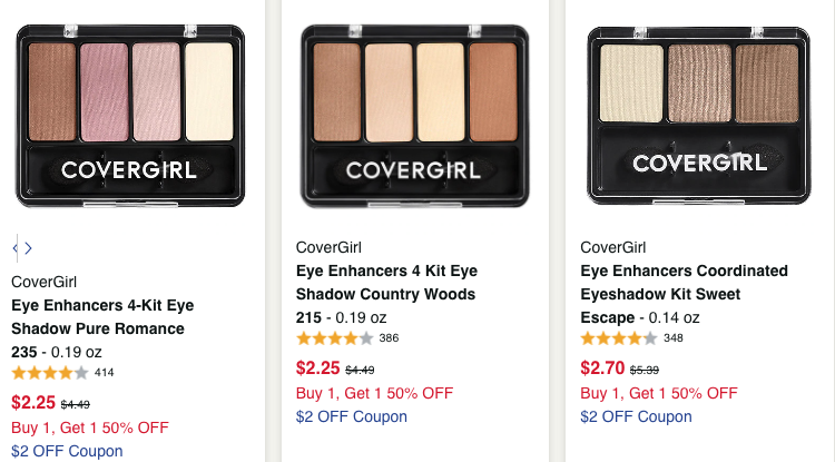 CoverGirl Eye Enhancers 4-Kit Eye Shadow only 0.80 each at Walgreens (FREE STORE PICKUP)